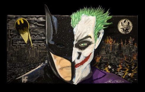 A slip face of Batman and The Joker with New York City and Gotham City in the background The Clash of the Gotham Rivals done by Charles and Heather Fazzino