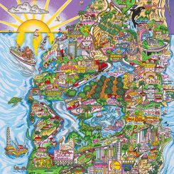 A 3D pop art about Florida in the shape of the state