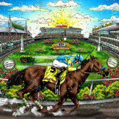 tribute artwork to victor espinoza's victory in the triple crown aboard American Pharoah in 2015