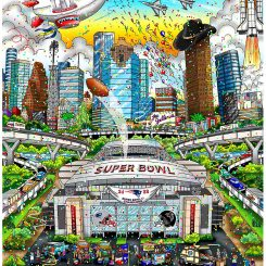 Super Bowl LI in Houston between the New England Patriots and Atlanta Falcons