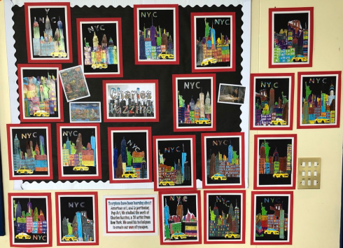 Wall of 3d pop art New York City, Fazzino inspired, cityscapes done by Sixpenny School