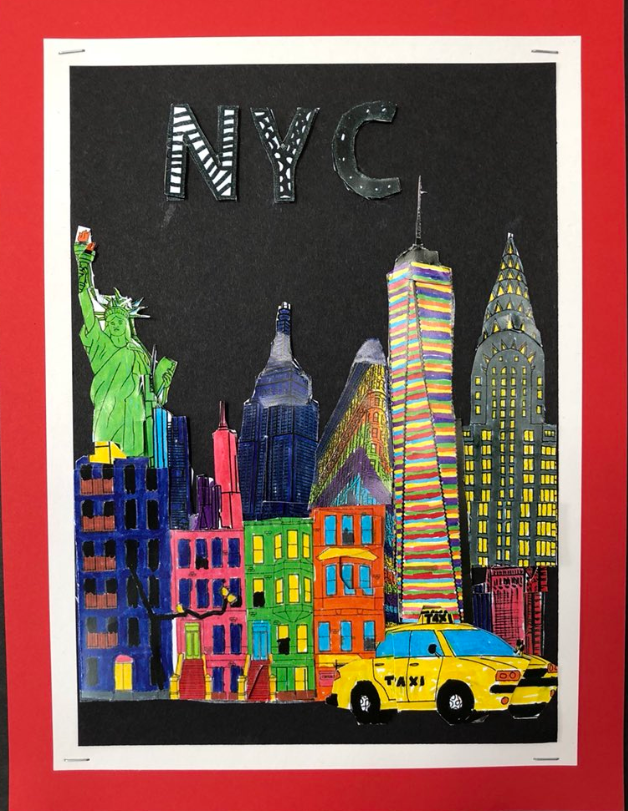 Colorful New York City cityscape with taxi in the foreground - Fazzino inspired work by Sixpenny School