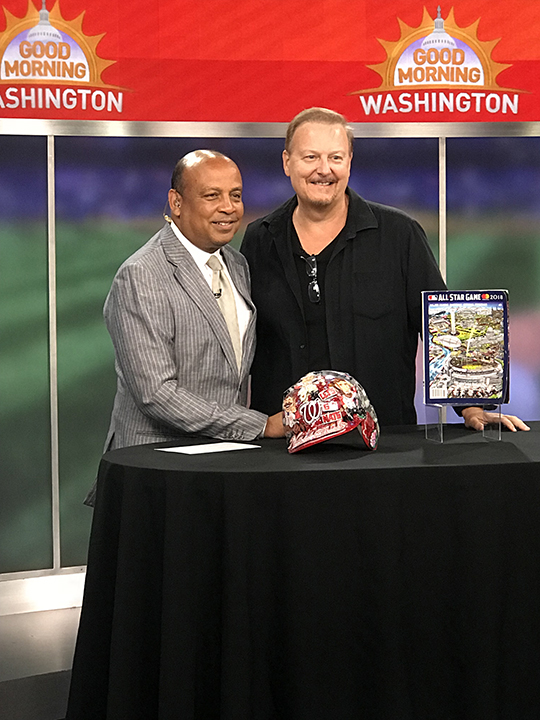 Charles Fazzino on Good Morning Washington showing off his MLB All Star Baseball 3d pop art collection
