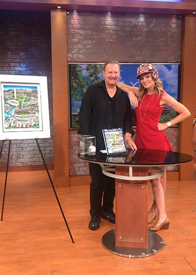 Charles Fazzino showing his MLB All Star baseball 3D pop art collection on WUSA9