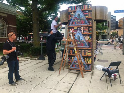 News 12 filming Fazzinos Library Kiosk Installation in Stamford, CT