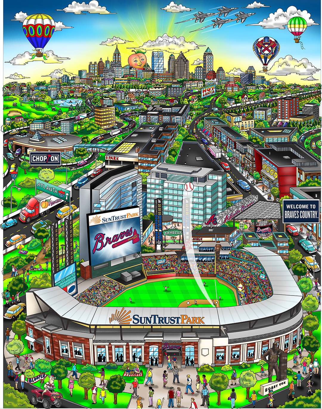 Sun Trust Park, Atlanta skyline, hot air balloons and a giant peach. Atlanta Braves 3D Pop Art commissioned baseball piece by Charles Fazzino of Sun Trust Park