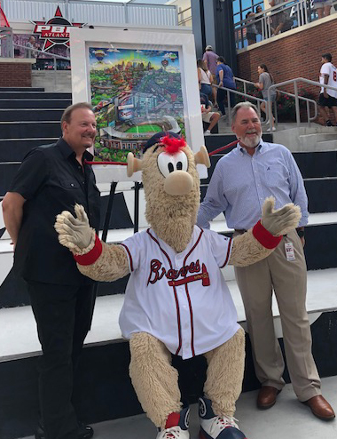 Charles Fazzino, Michael Plant, and Blooper posing in front of the Atlanta Braves pop art piece