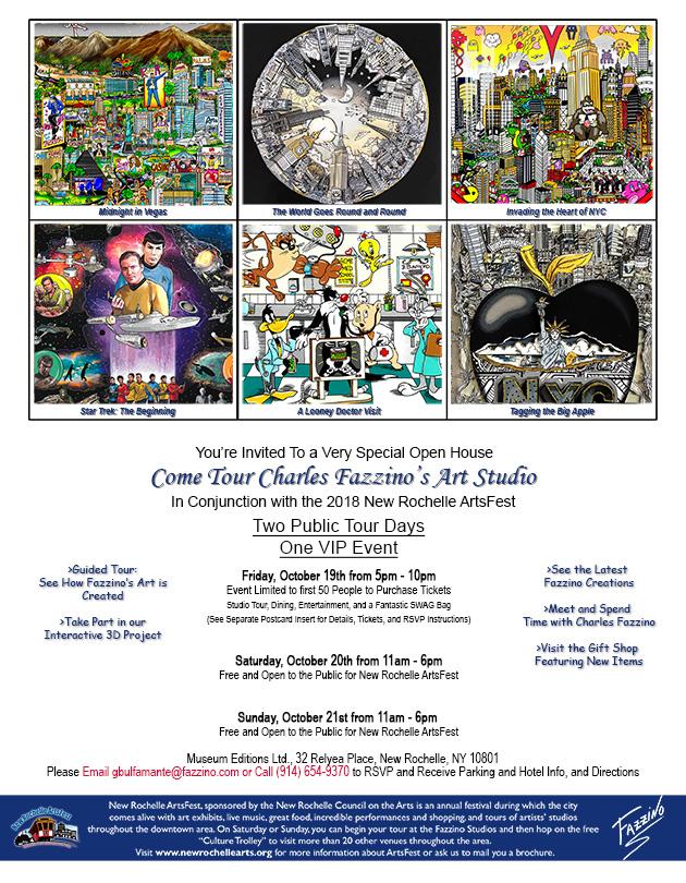 Artsfest 2018 flyer for Charles Fazzino studio tour