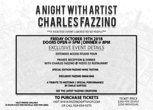A night with artist Charles Fazzino, exclusive event flyer