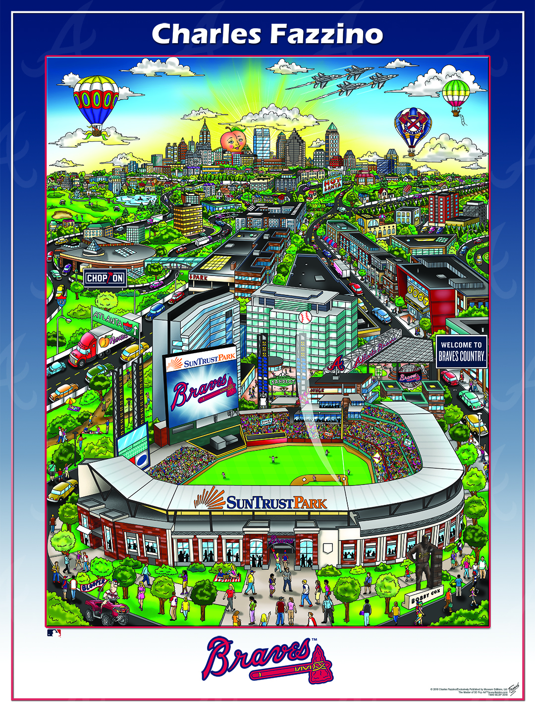 Atlanta Braves commissioned pop art baseball piece. People surrounding the new Sun Trust baseball stadium with hot air balloons above the Atlanta skyline.