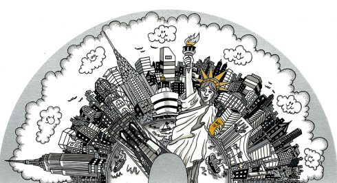 "black and white pop are piece ""Half Way Around the City"" with the Statue of Liberty front and center with gold accents"