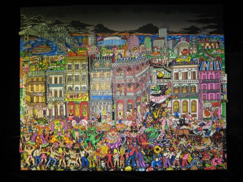 Colorful New Orleans cityscape with people in costume dancing in the streets - Pop Art print - New Orleans & All That Jazz by Charles Fazzino