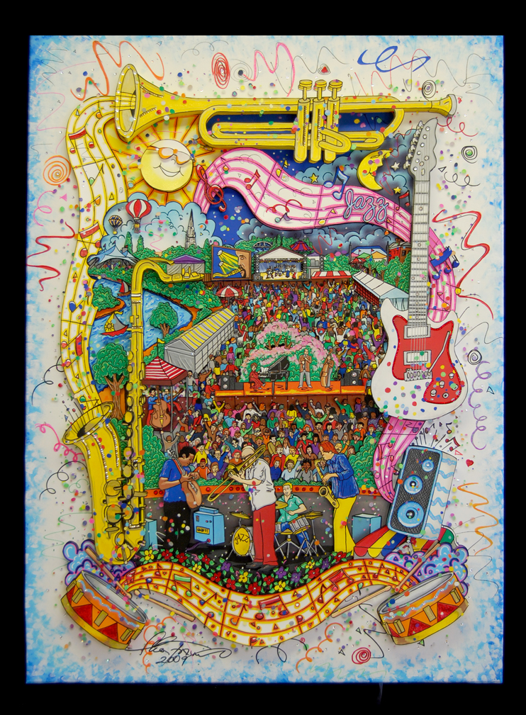 "Colorful art piece names ""Pori Jazz"" by Charles Fazzino"