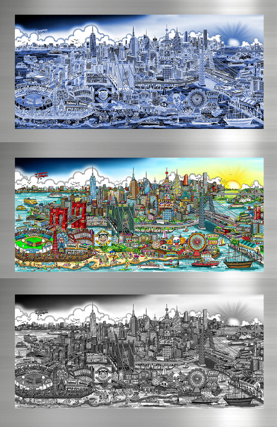 New York City pop art landscape with a Coney Island beach scene- A Day at the Beach by Charles Fazzino in full color, monochromatic electric blue, black and white