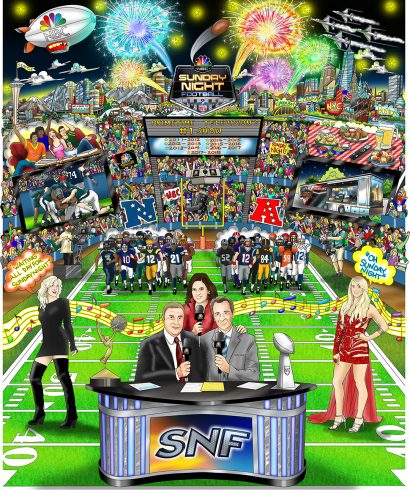 Artwork by Fazzino for Sunday Night Football featuring announcers, football teams surrounded by fans