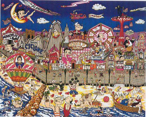 Betty Boop and Pop Eye the Sailor pop art - Betty's Boopin', Popeye's Swoonin' on Coney Island Beach - Charles Fazzino