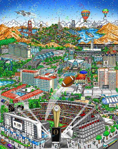 Pop art football stadium in California with city and the golden gate bridge in the background