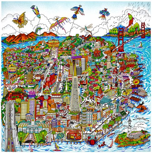 Colorful San Francisco cityscape artwork featuring many famous monuments of SF.