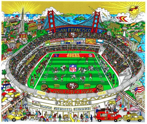 Colorful painted artwork of San Francisco's football stadium, home of the 49ers with the Golden Gate Bridge in the backdrop.