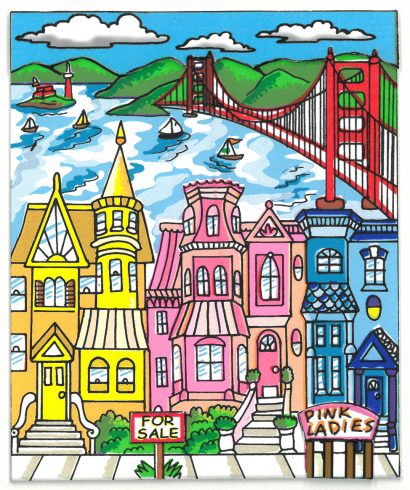 Colorful artwork painting of the famous Pink Ladies Victorian style houses in San Fran with the Golden Gate Bridge in the backdrop.