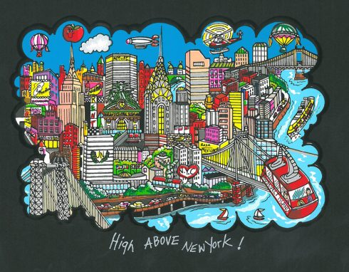 High Above New York Fazzino artwork featuring the NYC skyline and iconic buildings and bridges