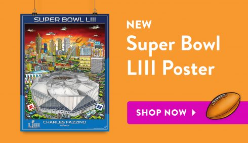 Shop the 2019 NFL Super Bowl LII poster from Charles Fazzino
