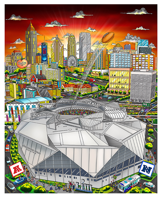 A football kicked into the sky from the Mercedez-Benz Stadium Stadium into Georgia's city skyline in the background - 2019 NFL Super Bowl LII poster by Charles Fazzino