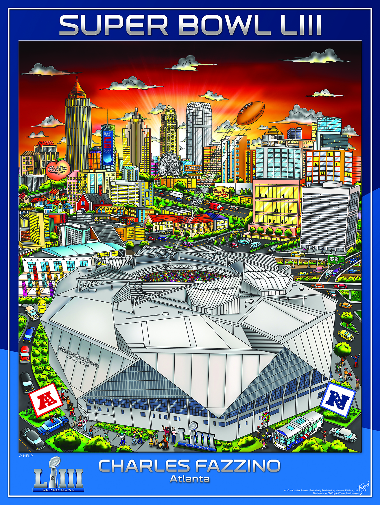 Super Bowl LIII Poster art by Charles Fazzino featuring the city of Atlanta and the Mercedez-Benz Stadium
