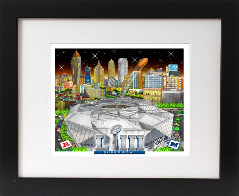 Framed pop art print of the NFL Super Bowl LII done by Charles Fazzino