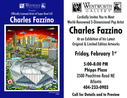 Invitation for the Fazzino show at Wentworth Gallery featuring the artwork for the Super Bowl