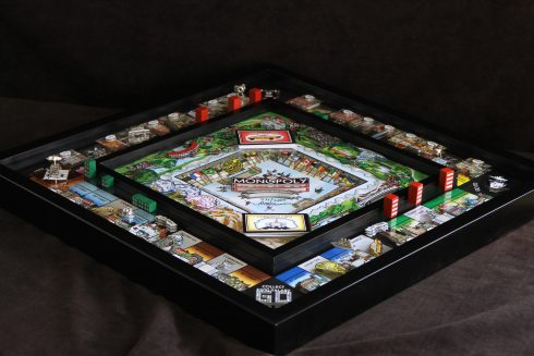 a birds eye view of Charles Fazzinos 3d pop art Monopoly game