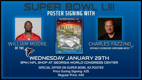Announcement card for the Super Bowl Fazzino poster signing with Atlanta Falcon William Moore