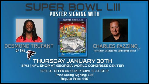 Announcement card for the Super Bowl Fazzino poster signing with Atlanta Falcon Desmond Trufant