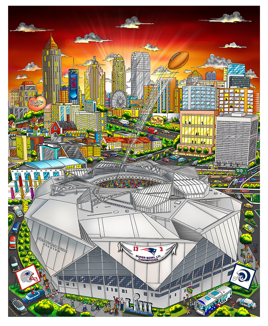 Super Bowl LIII artwork featuring the Mercedes Benz Stadium set in front of a cityscape backdrop of well known hot spots in Atlanta GA