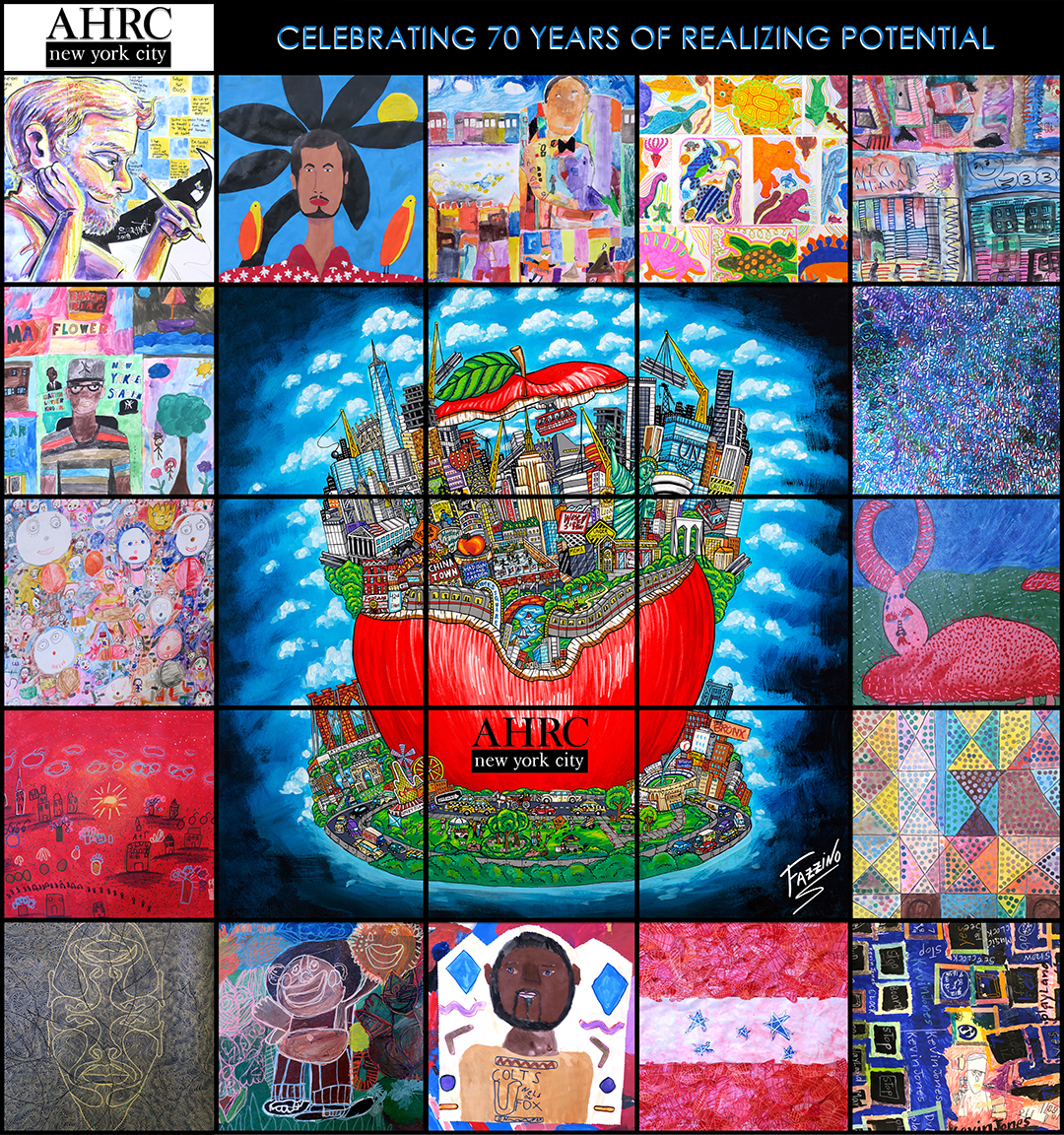 Grid-like collage featuring art works of young artists from AHRC with Charles Fazzino red apple in the center