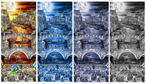 """Midnight in Venice"" new multi-piece series printed on an aluminum background: Black and White, Color, Blue, and Grey Blue from 3D Pop Artist Charles Fazzino"