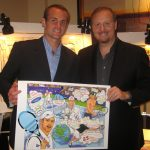 Charles Fazzino presents artwork to Andy Roddick at the Andy Roddick Foundation charity gala in Florida
