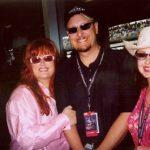 Wynnona and Naomi Judd with Charles Fazzino at the Indianapolis 500