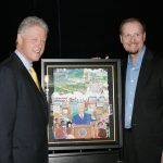 Charles Fazzino presents an original painting to President Bill Clinton for his library foundation.