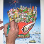 hand holding an exacto knife cutting into colorful 3D pop art piece of NYC and Big Apple - 3D Pop ArtIST Charles Fazzino