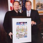 Charles Fazzino visited the offices of President George Bush and presented him with an artwork from the 2004 MLB All-Star Game