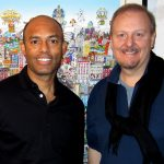 NY Yankee superstar Mariano Rivera and Charles Fazzino in the artist