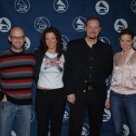 Moby, Sara McLaughlin and Dido appear with Charles Fazzino at the GRAMMY Awards nominees press conference