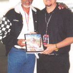 Charles Fazzino and Morgan Freeman at the Indianapolis Motor Speedway for the Indianapolis 500