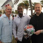 Charles Fazzino appearing on CBS This Morning with host Harry Smith and Indinapolis Colt Pierre Garcon for Super Bowl XLIV in Miami