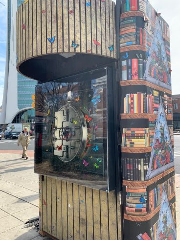 Painted kiosk with books & butterflies.