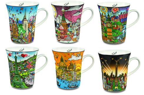 Six mugs featuring Fazzino's cityscapes of New York, Venice, Paris, Moscow, London, Berlin