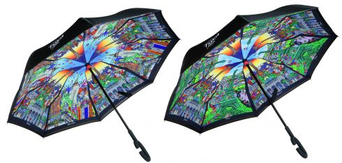 Two umbrellas featuring Fazzino's artwork