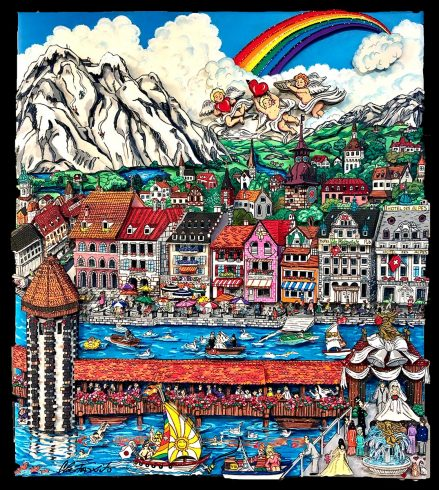 "Fazzino's painting titled ""Summer Angels Over Lucerne"""