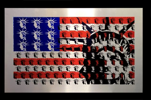 Statue of Liberty and American flag art composed of repetitive lady liberty faces. Die-sublimation on aluminum and embellished with Swarovski crystals.